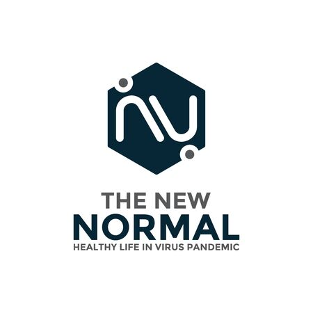 New normal logo concept design template. After the epidemic the COVID-19 virus caused the new normal life worldwide. Vector illustration. 일러스트