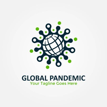 Global Pandemic Logo Vector. Coronavirus 2019-nCoV Pandemic Protection logo. World icon with coronavirus design concept combination. Coronavirus outbreak Stop virus. Vettoriali