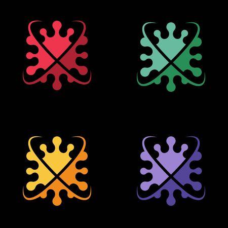 Coronavirus 2019-nCoV Bacteria Icon. Bacteria Protection logo vector. Coronavirus outbreak Stop virus. Isolated vector icon of virus on black background for poster, banner, flyer.