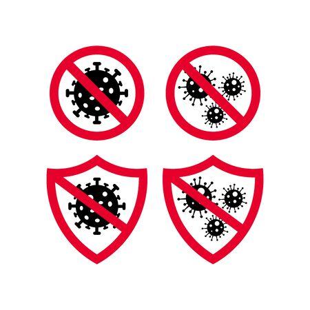 Coronavirus Bacteria Icon, 2019-nCoV Coronavirus Bacteria icon. Coronavirus outbreak Stop virus. Isolated vector icon of virus on white background for poster, banner, flyer.