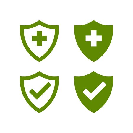 Hygienic shields that protect against viruses, germs and bacteria. Collection of web security shield icons with a white background. Archivio Fotografico - 149482051