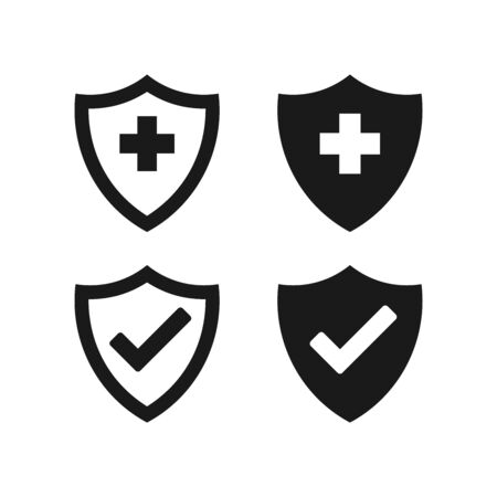 Hygienic shields that protect against viruses, germs and bacteria. Collection of web security shield icons with a white background. Vettoriali