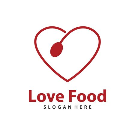 Love Food logo vector. Creative food logo vector Archivio Fotografico - 150279996