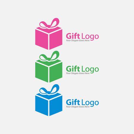 Gift Logo Vector,  Icon, Emblem, Gift Shop Logo Design Concept, Creative Symbol. Vettoriali