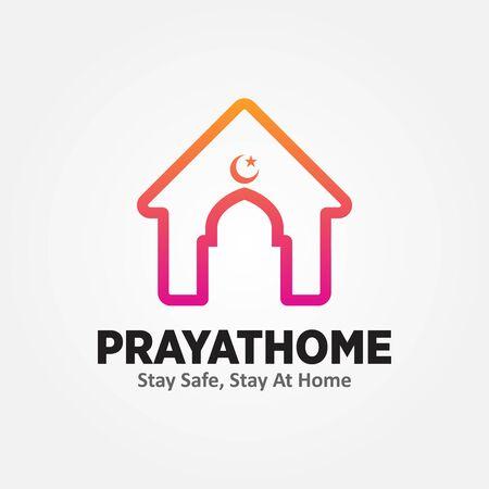 Pray at Home Logo Vector Illustration. Social Media Content Symbol Stay at Home. Vettoriali