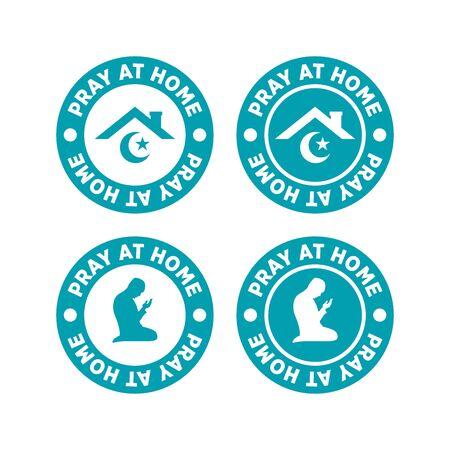 Set of Pray at Home Logo Vector, Label, Emblem. Social Media Content Symbol Stay at Home. Vettoriali