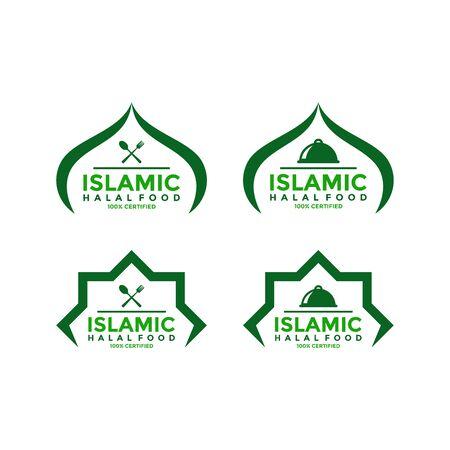Set of halal food products labels, badges and logo design. Vector Halal sign certificate tag.