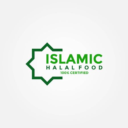 Halal food products labels, badges and logo design. Vector Halal sign certificate tag. Vettoriali