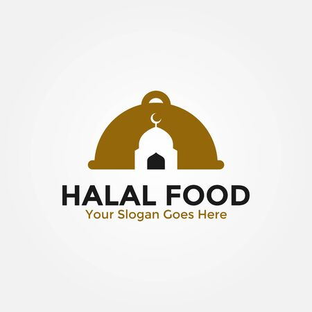 Islamic logo vector combination, creative muslim design, simple halal food logo design