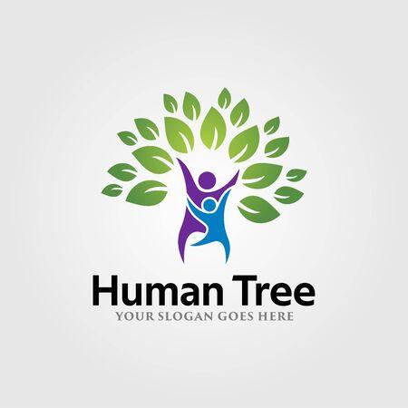 Human Tree Logo Vector Template Design. Vector Illustration.
