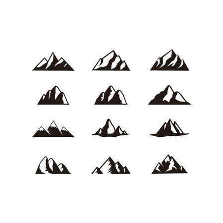 Set of mountain logo vector. Creative nature icon design.