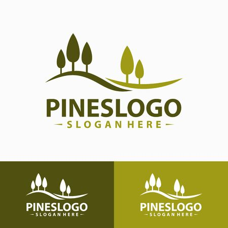 Pine Tree Logo Design Template. Vector Illustration.