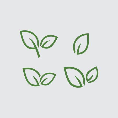 Set of Leaf logo vector Illustration design template. Green sprout green leaves symbol vector icon set. Logo