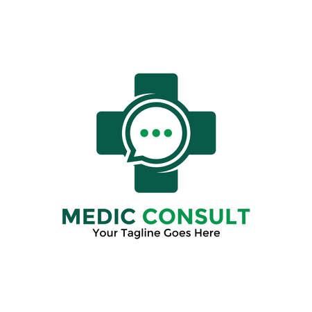 Medical Consulting Logo Design Template. Medical Online Logo Vector for healthcare. Archivio Fotografico - 152678478