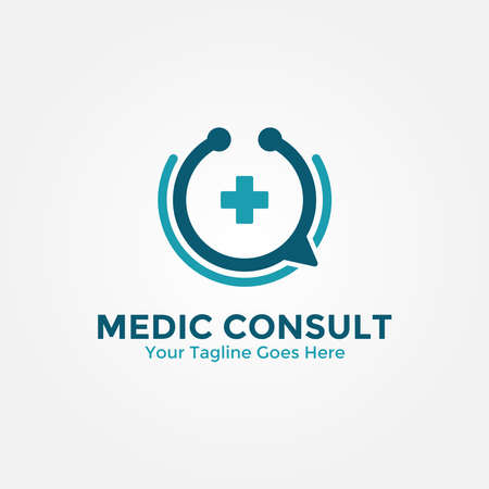 Medical Consulting Logo Design Template. Medical Online Logo Vector for healthcare. Vettoriali