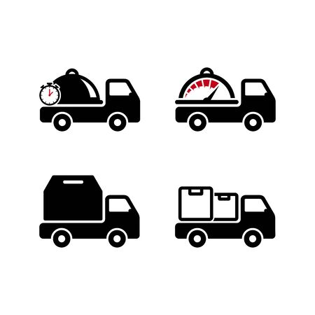 Set of Delivery Truck icon design. Box & Food delivery icon design. Freight forwarding services logo design element.