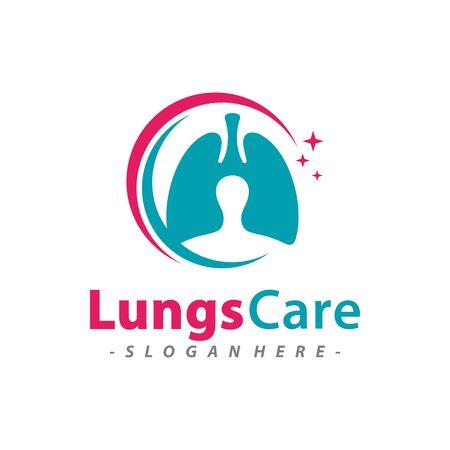 Lungs Care logo design template combination. Vector illustration.