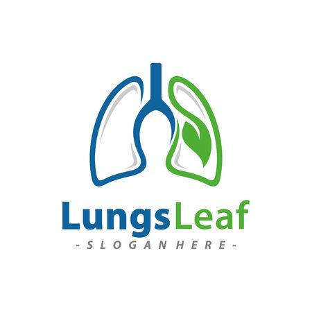 Lungs Leaf logo design template combination. Vector illustration. Vettoriali