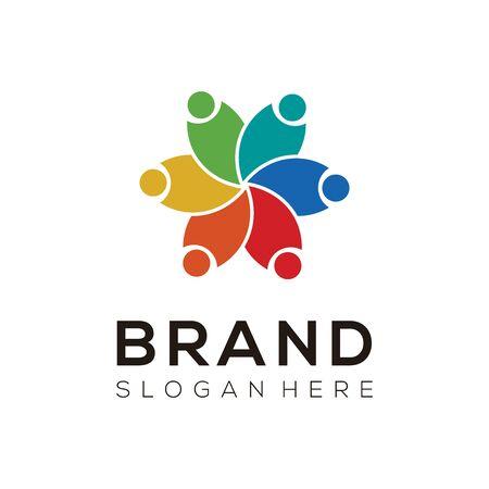 Team Network Logo Vector. Creative group icon design.
