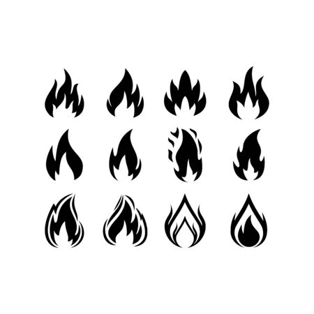 Set of Fire logo vector, icon, symbol, illustration design template. Isolated on white background.