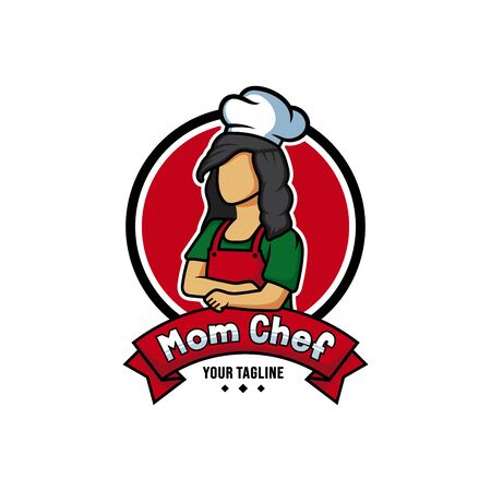 Mom chef cartoon character logo vector. Chef logo mascot illustration.