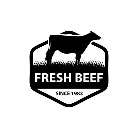 Premium fresh beef logo vector, creative label, emblem logotype design