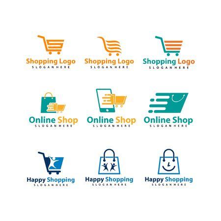 Set of Shopping / Shop logo vector for business, Vector logo illustration design template