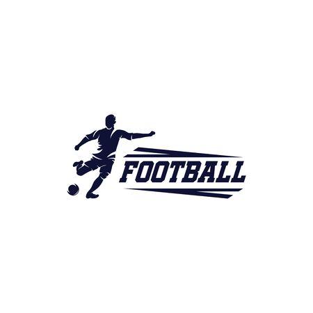 Soccer and football logo vector. Player man logo design, soccer player kicking the ball Vettoriali