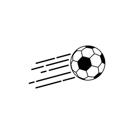Football Logo Vector. Soccer ball logo flying through the air with curved motion trails.