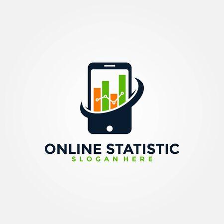 Report Online Statistics Logo Vector. Creative logo for mobile concept and web design.