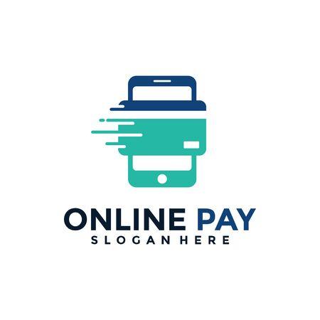 Fast Mobile Pay Logo Vector. Digital Pay Transaction Logo Design Template.