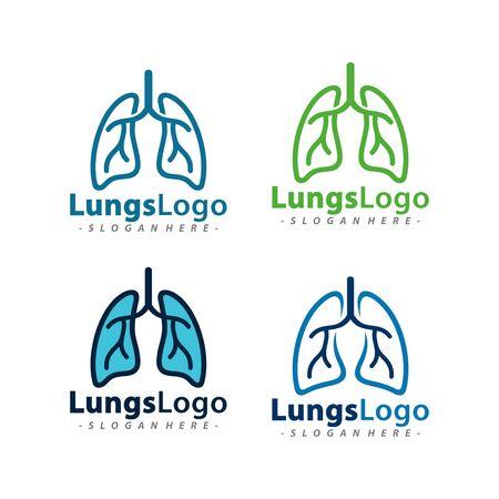 Set of Lungs Logo Vector Template Design. Vector Illustration.