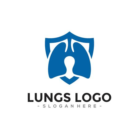 Lungs Protection logo design template combination. Vector illustration. Vettoriali