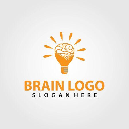 Brain Logo vector template. Silhouette design. Think idea concept. Vector illustration of creative human brain logo. Logotype icon Logo. Archivio Fotografico - 149453338