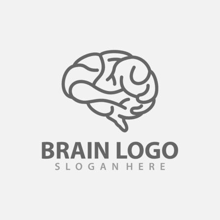 Brain Logo vector template. Silhouette design. Think idea concept. Vector illustration of creative human brain logo. Logotype icon Logo. Archivio Fotografico - 149453339
