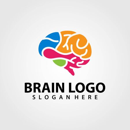 Brain Logo vector template. Silhouette design. Think idea concept. Vector illustration of creative human brain logo. Logotype icon Logo. Archivio Fotografico - 149453340