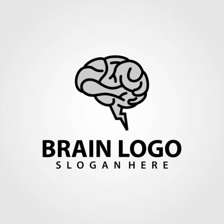 Brain Power Logo vector template. Silhouette design. Think idea concept. Vector illustration of creative human brain logo. Logotype icon Logo. Vettoriali