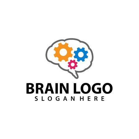 Brain Logo vector template. Silhouette design. Think idea concept. Vector illustration of creative human brain logo. Logotype icon Logo.