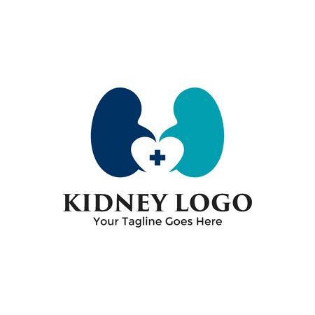 Love Kidney logo vector combination. Creative urology logo concept design template.