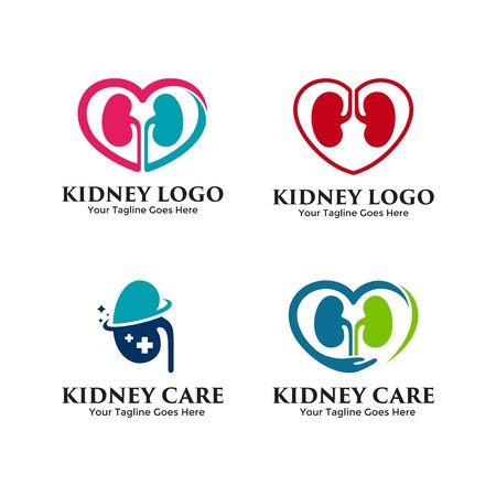 Set of Kidney logo vector. Creative urology icon design template.