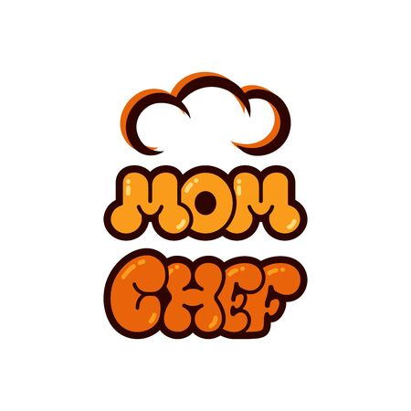 Mom chef bubble lettering logo vector. Chef typography, sketch style logo design template.