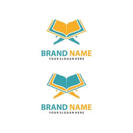 Al Quran logo vector, Islamic logo vector illustration, and book logo vector