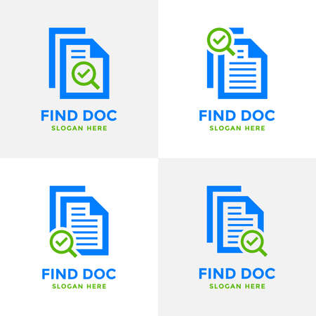 Set of review search logo design template. Magnifying glass icon with document paper sheet combination. Concept of analysing, correcting, evaluating, surveying, etc.
