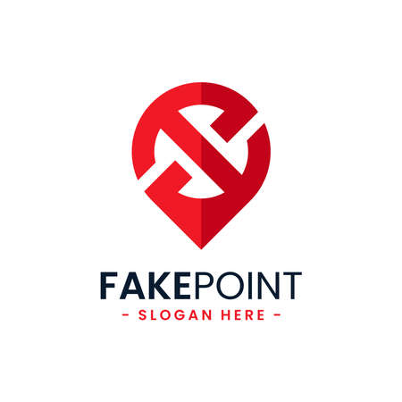 Fake point logo design template. Initial letter x and point icon vector combination. Creative letter x for location symbol concept.