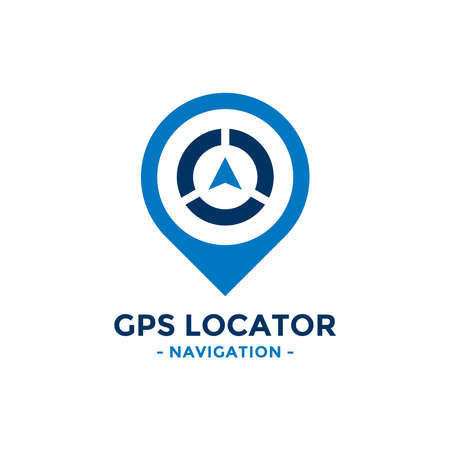 Gps locator logo design template. Compass and gps map location icon vector combination. Creative compass logo symbol concept.
