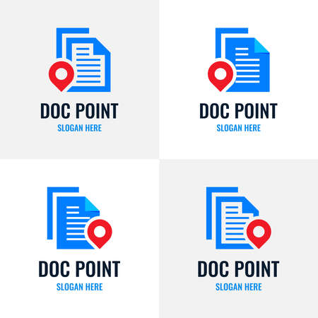 Set of document point logo design template. Review search icon vector, concept of analysing, correcting, evaluating, surveying, etc. Vettoriali