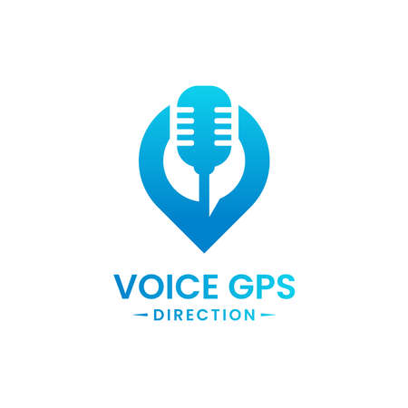 Voice gps drive point logo design template. Gps map location and voice icon vector combination. Creative map pointer symbol concept. Vettoriali