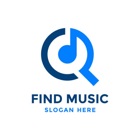 Find music logo design template. Musical icon with magnifying glass combination. Vettoriali