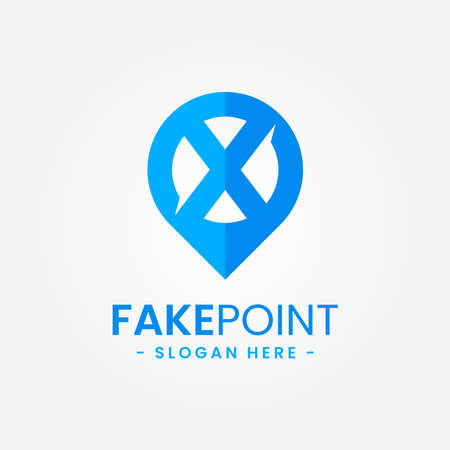 Fake point logo design template. Initial letter x and point icon vector combination. Creative letter x for location symbol concept. Logo