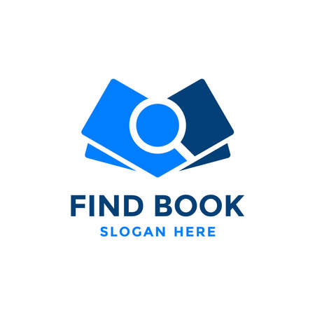 Find book logo design template. Book icon with magnifying glass combination. Review search symbol. Concept of analysing, correcting, evaluating, surveying, etc. Vettoriali